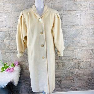 VTG Ivory Wool Puffy Sleeves Long Coat Size 8